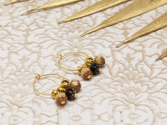 Mini Creoles COCO Art Deco black beige brown brown or fine brass 24k resin gift gift birthday wedding Christmas