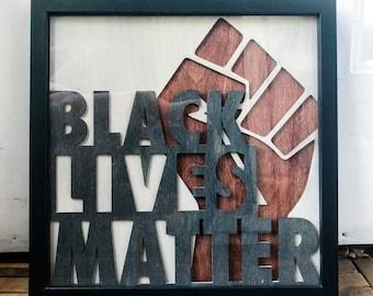 Black Lives Matter Framed Wood Art - All Proceeds Donated