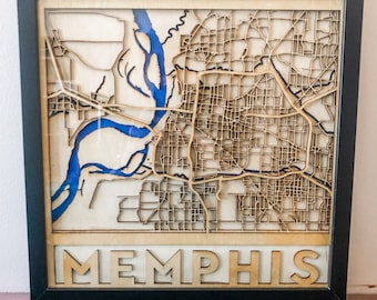 Layered Wooden Map of Memphis, Tennessee
