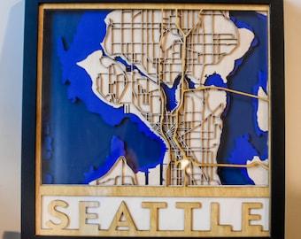 Layered Wooden Map of Seattle, Washington
