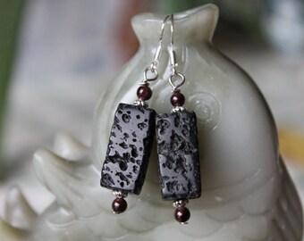 Black Lava with Red Garnet Earrings, sterling silver hook