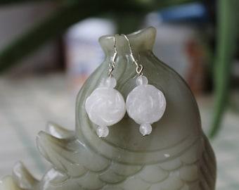 White Jade Flower Earrings, sterling silver hook
