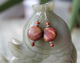 Coin Picture Jasper Earrings, sterling silver hook