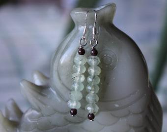 Long Green Garnet Earrings, sterling silver hook