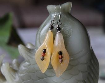 Light Yellow Jade Flower Earrings, sterling silver hook
