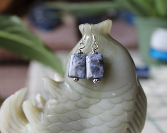 Light Blue Sodalite Earrings, sterling silver hook