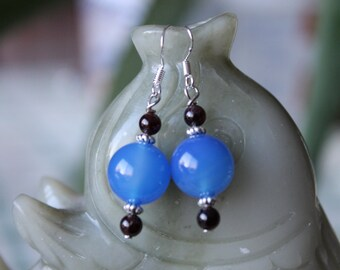 Blue Agate with Red Garnet Earrings, sterling silver hook
