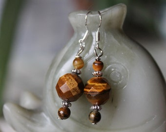 Yellow Faceted Tiger Eye Earrings, sterling silver hook