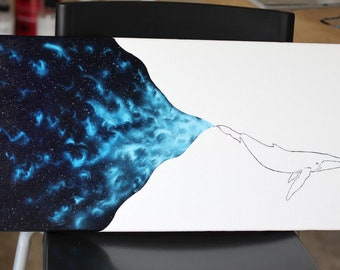 """Whale Galaxy Oil Painting on stretched canvas 10""""x20"""""""