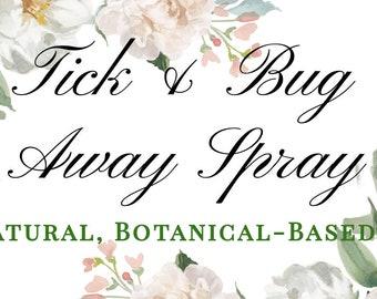Bug Spray - Tick Away - 2 oz. - Lyme - Natural - Essential Oils - Cedar - Citronella - Geranium - Bug Repellent - Summer - Hiking - Lemon