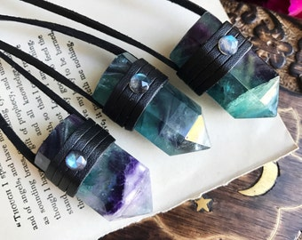 Wrapped Crystal Necklace, Fluorite Necklace, Vegan Necklace, Boho Necklace, Long Necklace