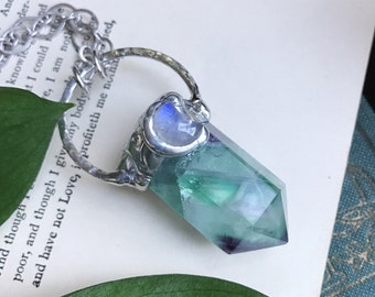 Fluorite Necklace - Crystal Necklace - Silver Necklace - Moon Necklace - Soldered Necklace - Boho Necklace - Gift for Her