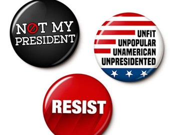 UnTrump Button/Magnet Set - Anti-Trump Pins - Not My President Pins - Resist Trump Protest Badges - 1 Inch Pinback Buttons - 1 Inch Magnets