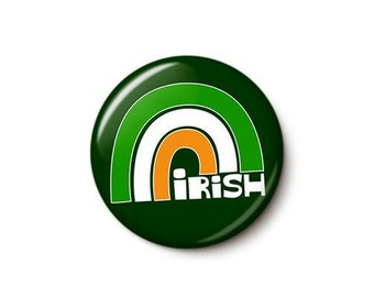 Irish Flag Rainbow Button or Magnet
