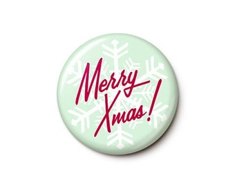 Retro Snowflake Merry Xmas Button or Magnet