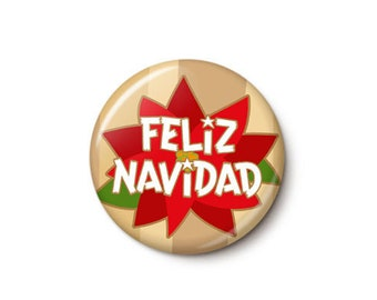Retro Poinsettia Feliz Navidad Button or Magnet