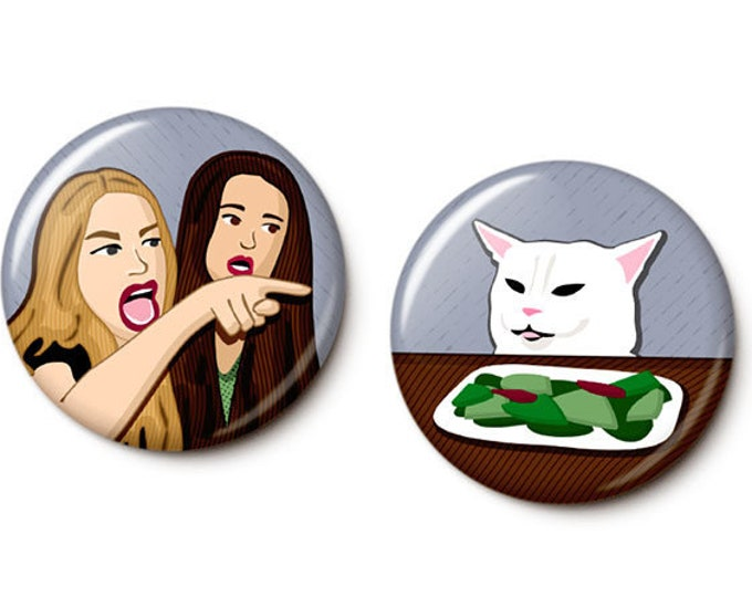 Featured listing image: Woman Yells At Cat Button/Magnet Set