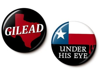 Texas Is Gilead Button/Magnet Set - Pro-Choice Anti-Texas Pins - Feminist Buttons - Women's Rights Pins - 1 Inch Pinback Buttons or Magnets