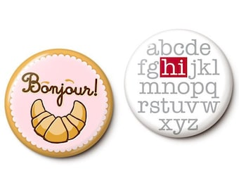 Bilingual Greetings Button/Magnet Set