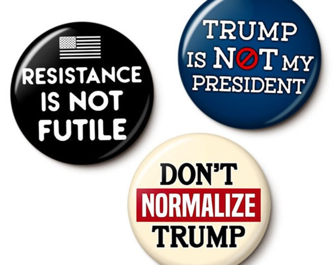 Featured listing image: Anti-Trump Protest Button/Magnet Set
