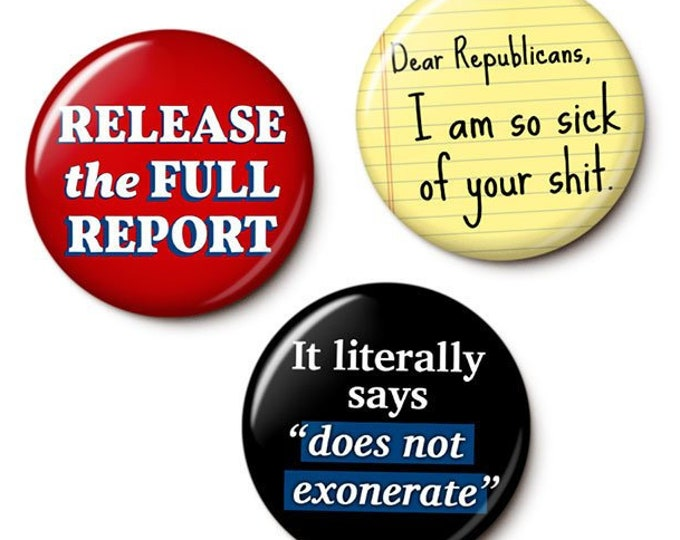 Featured listing image: Mueller Report Button/Magnet Set