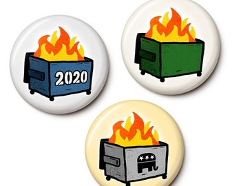 The All Occasion Dumpster Fire Button/Magnet Set