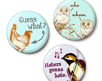 Bird Trio Button/Magnet Set