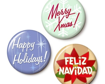 Retro Xmas Button/Magnet Set