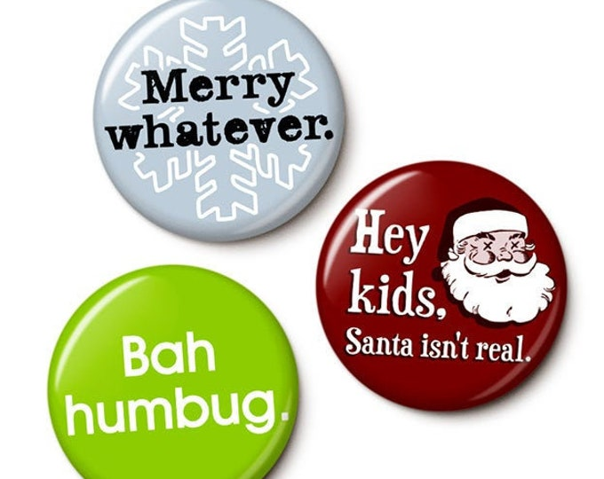 Featured listing image: Holiday Apathy Button/Magnet Set