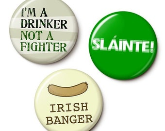 St. Patrick's Day Party Pack Button/Magnet Set - St. Patrick's Day Pins - 1 Inch or 1.75 Inch Pinback Buttons or Magnets