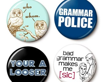 Grammar Quartet Button/Magnet Set