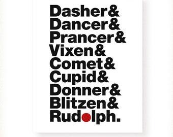 Reindeer Names Art Print - Santa's Reindeer Christmas Art Print - Helvetica Typography Print -  5x7 - 8x10 - 11x14