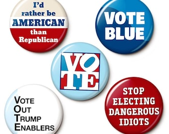 Blue Wave Election Button/Magnet Set - Anti-Republican Anti-GOP Pins - 2022 Election Buttons - 1 or 1.75 Inch Pinback Buttons or Magnets