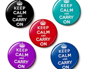 Keep Calm And Carry On Button/Magnet Set
