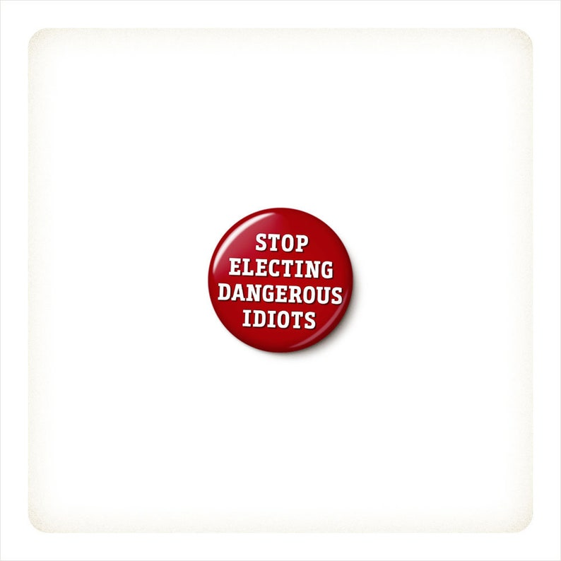 Stop Electing Dangerous Idiots Button or Magnet  image 0
