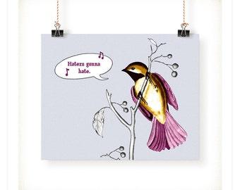Haters Gonna Hate Bird Art Print - 5x7 - 8x10 - 11x14