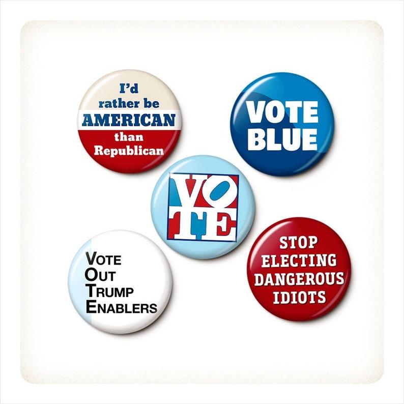 Blue Wave Election Button/Magnet Set  Anti-Republican image 0