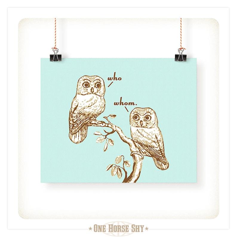 Who Vs. Whom Grammar Owls Art Print  5x7  8x10  11x14 Aqua