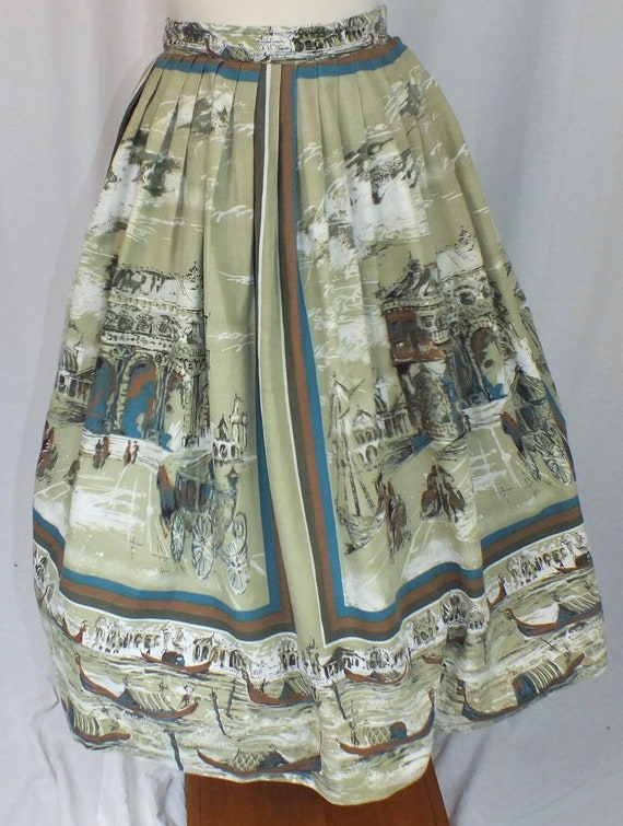 1950s Venice Novelty Print Skirt