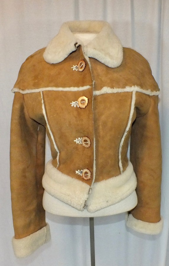 1970s Cropped Shearling Suede Jacket