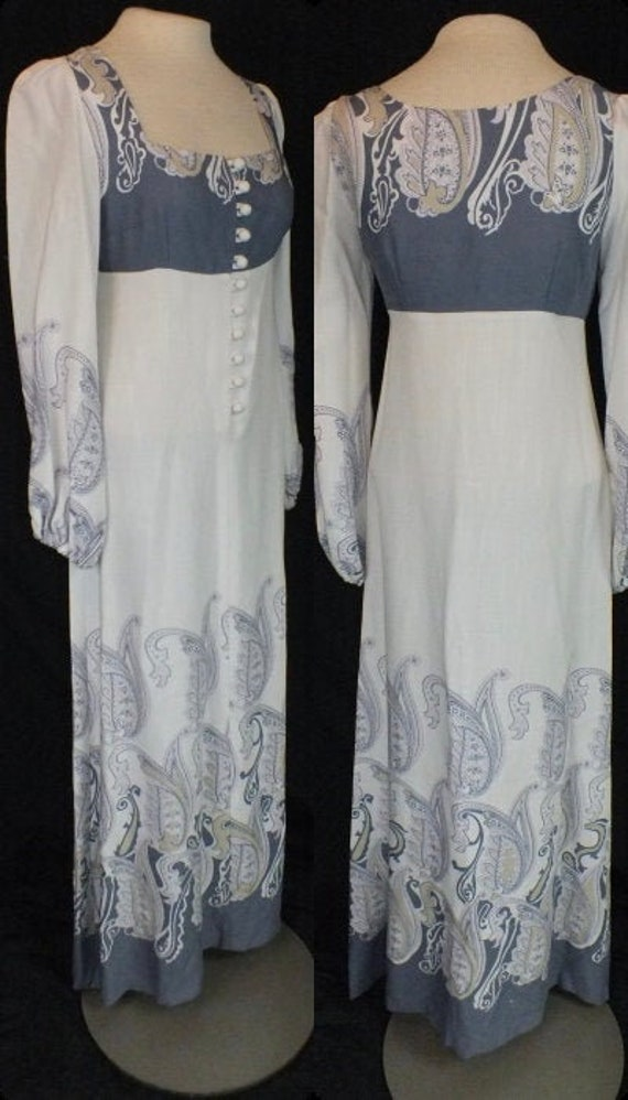 1970s Marion Donaldson Designer Prairie Dress