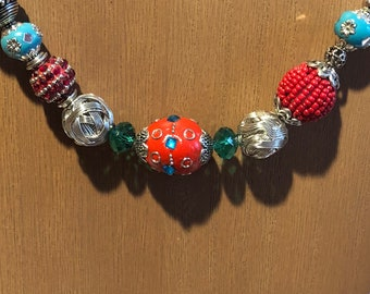 Chunky necklace in red, silver, and turquoise