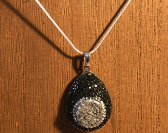 Charcoal Grey Geode Style Pendant with Black Rhinestone Accents on a Silver Chain