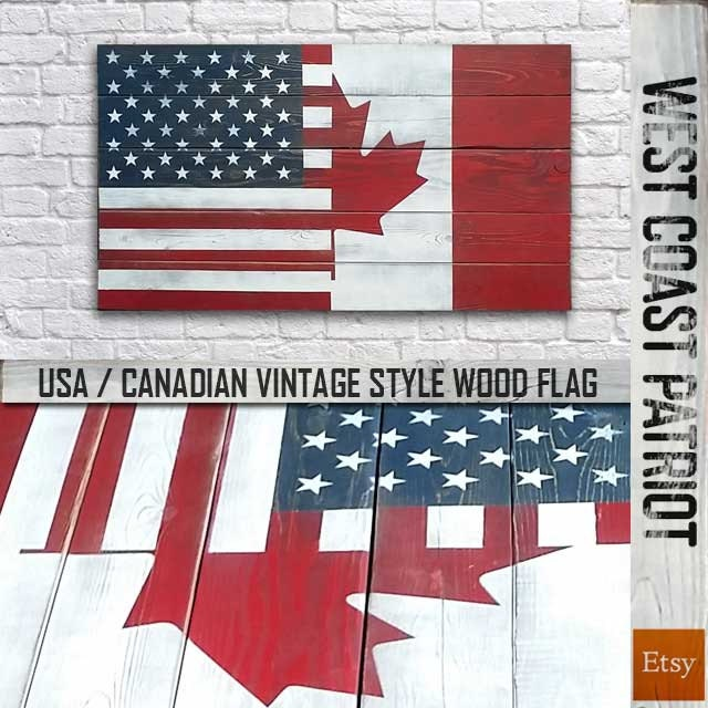 half american half canadian flag vintage style wood flag etsy