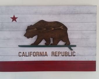California Surf Republic Wood Flag
