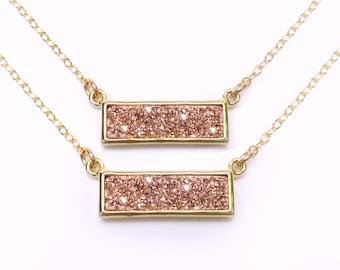 Rose Gold Druzy Necklace, Druzy Bar Pendant Necklace, Druzy Geode Necklace, Rose Gold Agate Druzy Necklace, Rose Gold Geode Necklace jewelry