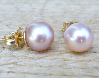 Blush Pink Freshwater Pearl Jewelry Single Pink Pearl Dangle Earrings Sterling Silver Classic Everyday Mauve Lavender Potato Pearl Drops