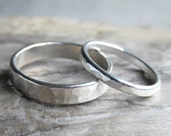 933de6b396 Couples Ring Set Sterling Silver, His and Hers Promise Rings, Minimalist Hammered  Matching Couples Wedding Bands