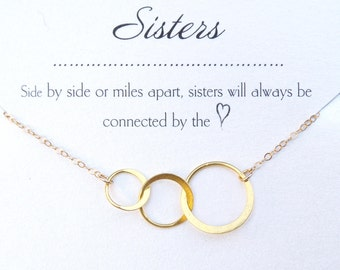 Three Sister Bracelet, Sister Bracelets For 3, Three Circle Jewelry, Mom of Three Girls Gift, 3 Daughters Gift, Gold, Rose Gold or Sterling