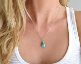 Real Turquoise Necklace Sterling Silver, Long Layered Multi Strand Turquoise Necklace Rose Gold, Dainty Simple December Birthstone Jewelry